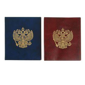 Альбом для монет, на кольцах, Оптима, 230 х 265 мм, входит до 20 листов, обложка искусственная кожа, «Герб», микс Ош