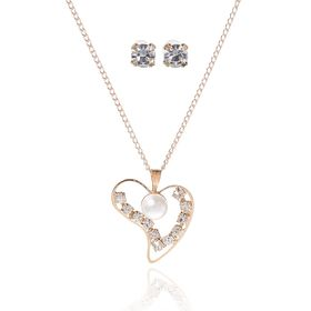 Гарнитур 2 предмета: серьги, кулон 'Невесомость', сердечко, цвет белый в золоте, 45см Ош