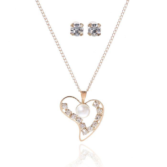 """Гарнитур 2 предмета: серьги, кулон """"Невесомость"""", сердечко, цвет белый в золоте, 45см"""