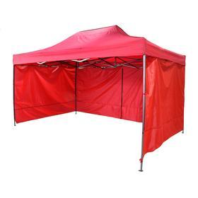 Палатка торговая 3*4 м, каркас складной чёрный, с молнией, цвет красный Ош