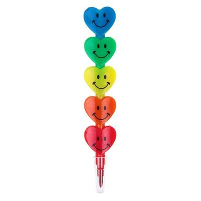 Карандаш восковой «Сердечки» 5 цветов - Фото 1