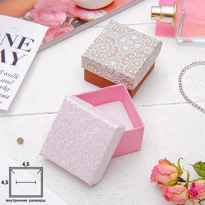 "Коробочка подарочная под кольцо ""Винтаж"" 5x5 (размер полезной части 4,5х4,5см), цвет МИКС, белая вставка"