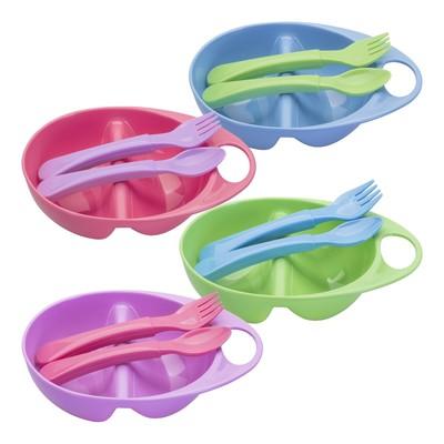 Набор для кормления, 3 предмета: тарелка двухсекционная, ложка, вилка, от 4 мес., цвета МИКС - Фото 1