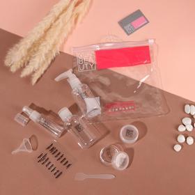 Набор дорожный, 7 предметов, с наклейками, в чехле, цвет прозрачный
