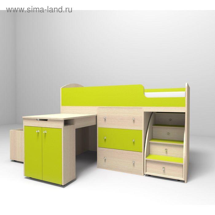 Кровать-чердак Ярофф Малыш 700x1600 дуб моолчный лайм