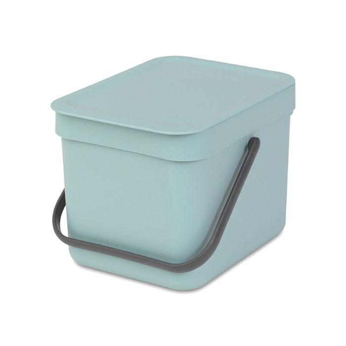 Ведро для мусора Brabantia Sort & Go, 6 л, встраиваемое, цвет мятный