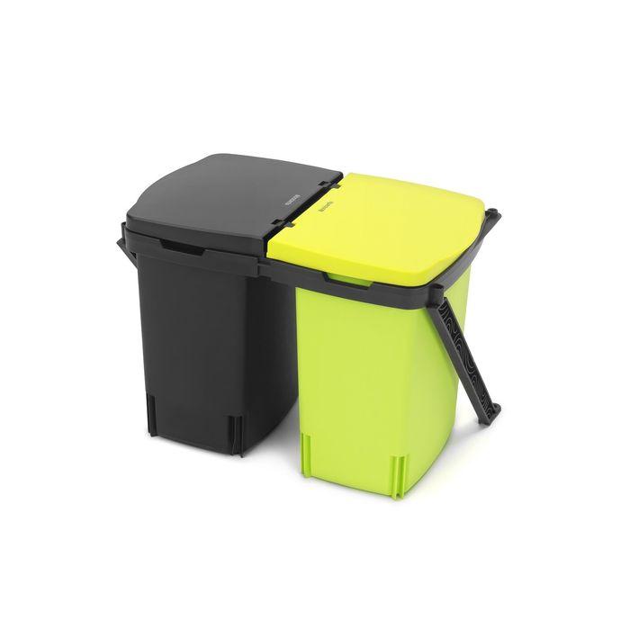 Ведро для мусора Brabantia, двухсекционное, 2 х 10 л, встраиваемое