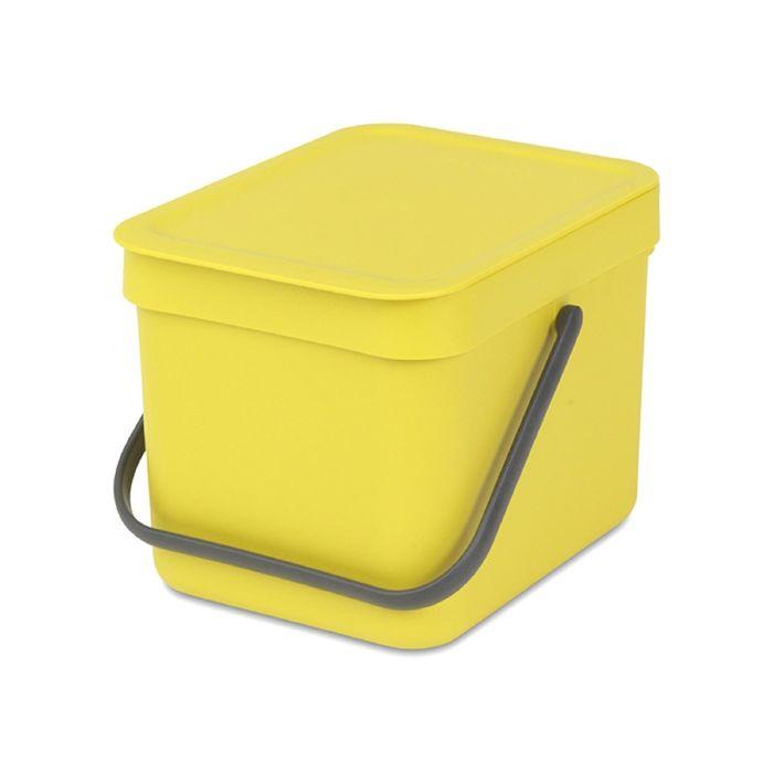 Ведро для мусора Brabantia Sort & Go, 6 л, встраиваемое, цвет жёлтый