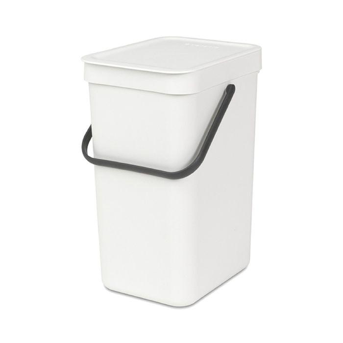 Ведро для мусора Brabantia Sort & Go, 12 л, встраиваемое, цвет белый