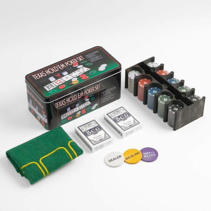 Покер, набор для игры карты 2 колоды, фишки с номин. 200 шт, сукно 60х90 см