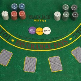 Покер, набор для игры (карты 2 колоды, фишки 200 шт с/номин, сукно 60х90 см) микс Ош