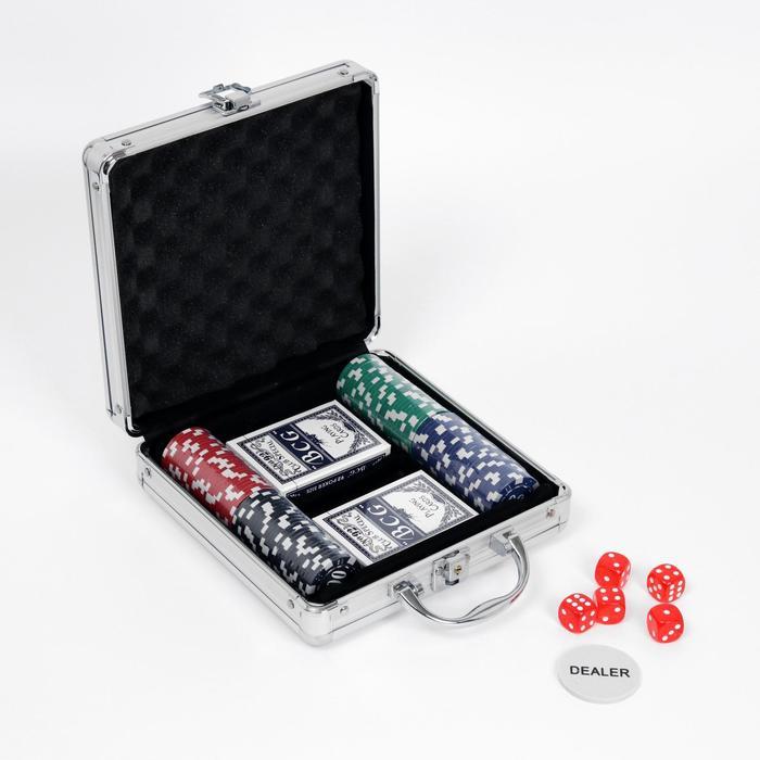 Покер в металлическом кейсе карты 2 колоды, фишки 100 шт без номинала, 5 кубиков, 20х20 см