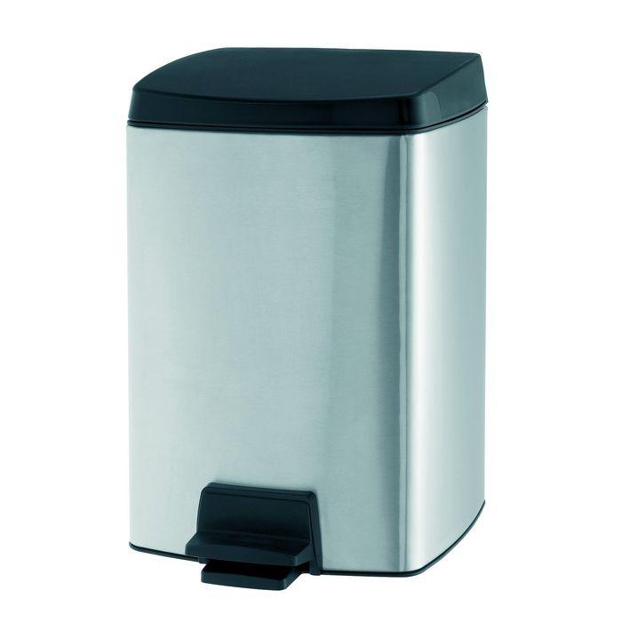 Ведро для мусора Brabantia, 10 л, прямоугольное, с педалью, цвет стальной матовый