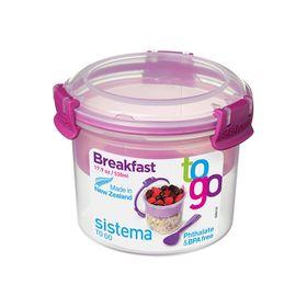 Ланч-бокс с ложкой Sistema Breakfast To-Go, двойной, 530 мл, цвет МИКС