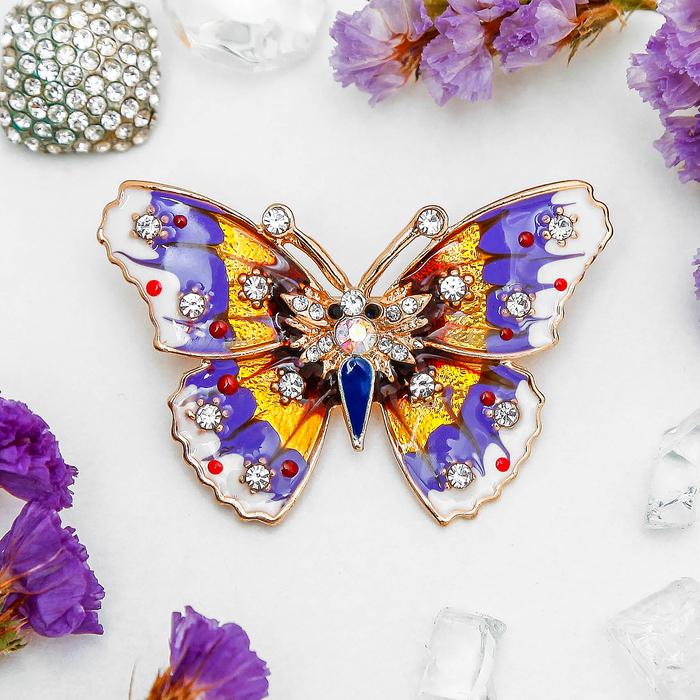 """Брошь """"Бабочка"""" мозаика малая, цветная в золоте"""