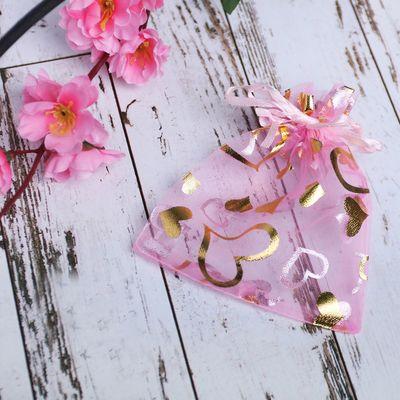 """Мешочек подарочный """"Сердечки"""" 10*12, цвет розовый с золотом"""