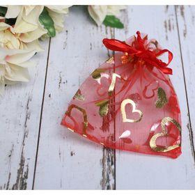 Мешочек подарочный 'Сердечки' 10*12, цвет красный с золотом Ош