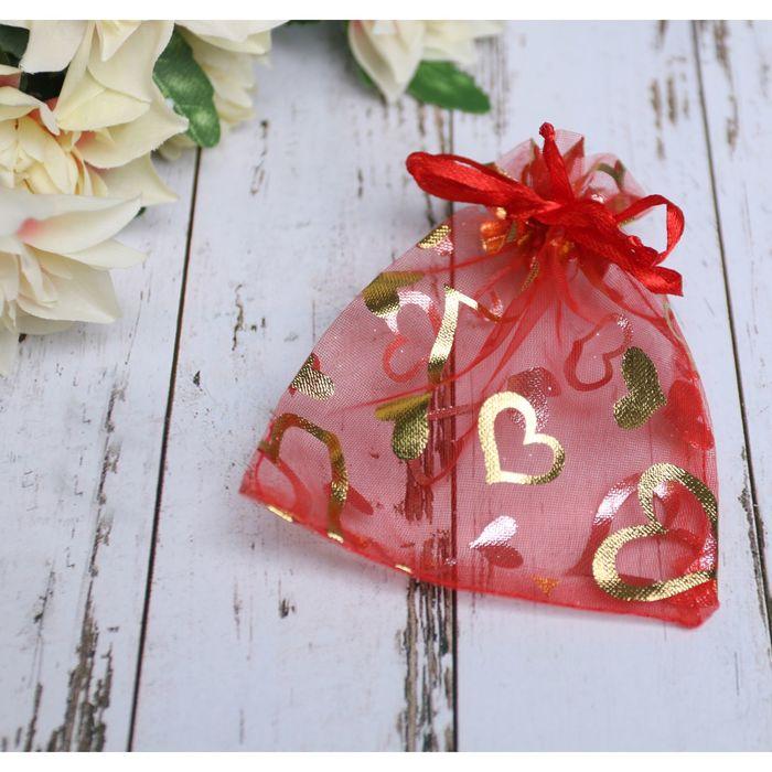 Мешочек подарочный Сердечки 1012, цвет красный с золотом