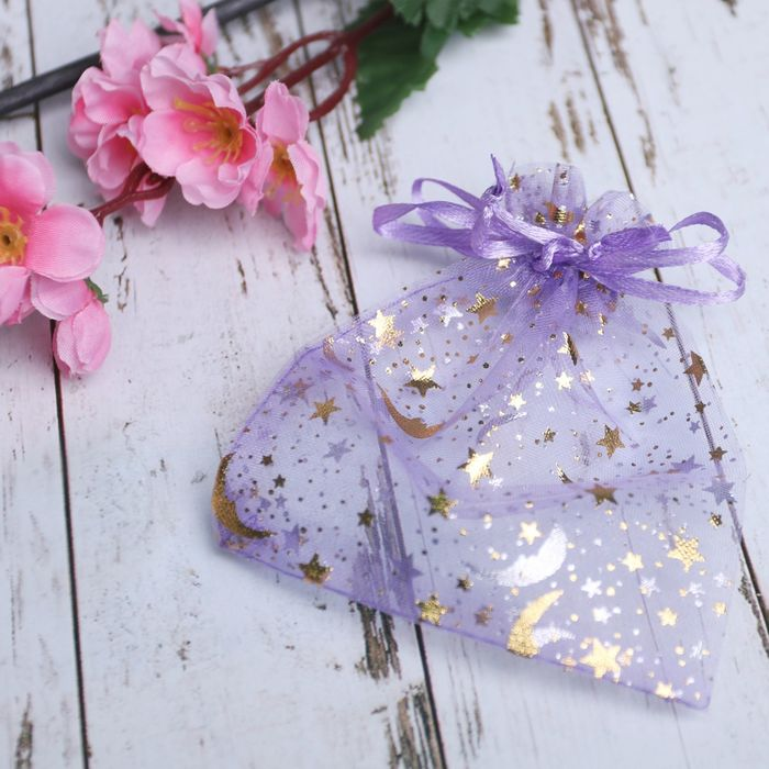 Мешочек подарочный Звезды с месяцем 1012,5, цвет фиолетовый с золотом