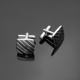 Запонки стальные 'Квадрат' полоски, цвет серебро Ош