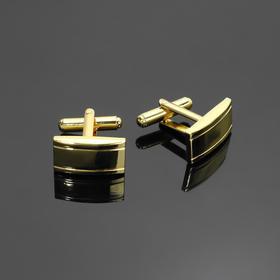 Запонки стальные 'Классика' прямоугольник выпуклый, цвет золото Ош