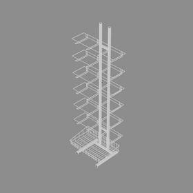 Стойка торговая разборная с крючками 15 см, корзиной 66*33 см, цвет белый Ош