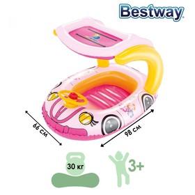 Лодочка для плавания «Машинка» с тентом, 98 х 66 см, от 3-6 лет, от 3-6 лет, цвета МИКС, 34103 Bestway Ош