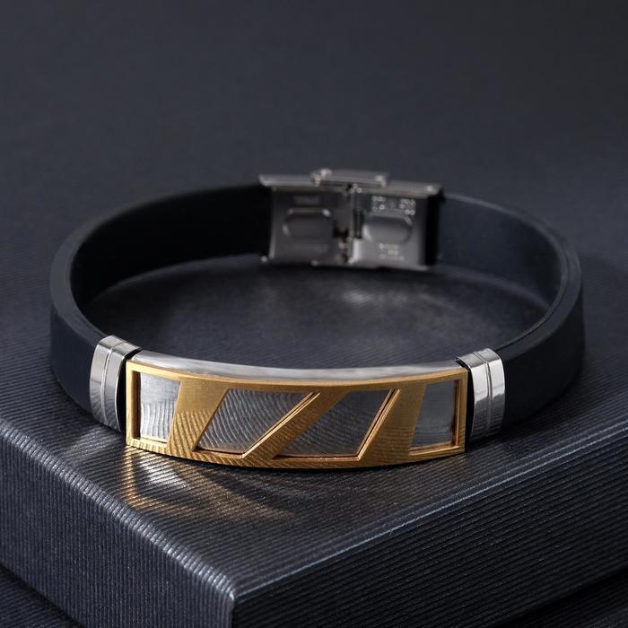 """Браслет мужской """"Стиль"""" прямоугольник резной, цвет чёрный с серебристо-золотым, L=22 см"""