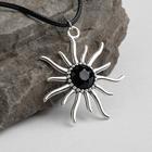 """Кулон на шнурке """"Солнце"""", цвет чёрный в чернёном серебре, 45см - Фото 1"""