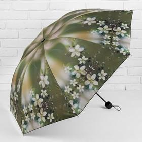 Зонт механический «Цветочная поляна», прорезиненная ручка, 3 сложения, 8 спиц, R = 55 см, цвет зелёный