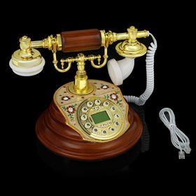 Телефон ретро полистоун, Круг с вставкой перламутр, коричневый 20*27см