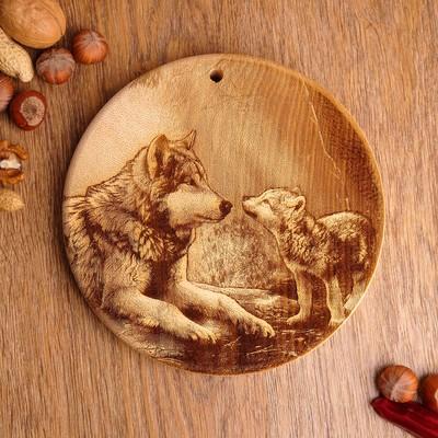 Доска из массива кедра «Волки», круглая, 18 × 18 см