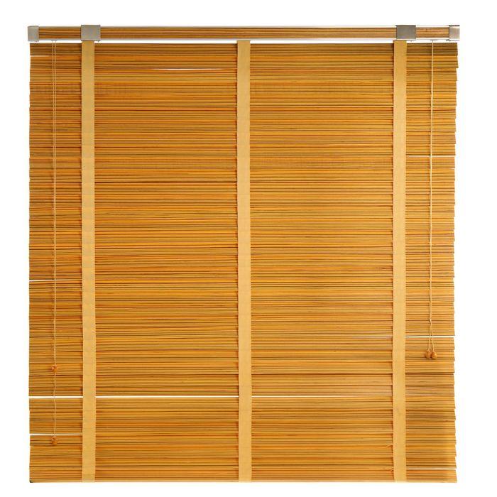 Жалюзи деревянные, размер 160х160 см, цвет зебрано жёлтое