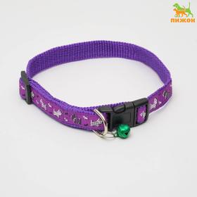Ошейник 'Собачки' до 37 см, ширина 1,5 см, фиолетовый Ош