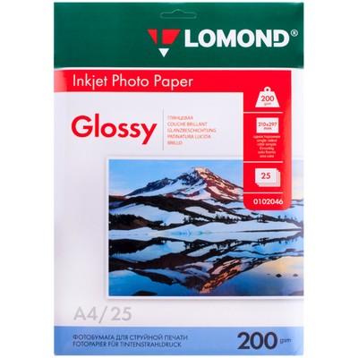 Фотобумага для струйной печати А4 LOMOND, 102046, 200 г/м², 25 листов, односторонняя, глянцевая