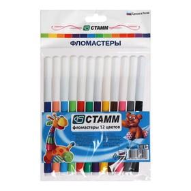 Фломастеры 12 цветов «Веселые игрушки», толщина линии письма 1.0 мм, смываемые чернила, европодвес