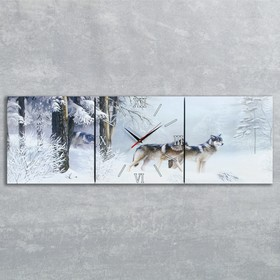 Часы настенные, серия: Животный мир, модульные 'Волки в зимнем лесу', 35х110  см, микс Ош