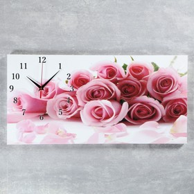 Часы настенные, серия: Цветы, на холсте 'Нежные розы', 40х76  см, микс Ош