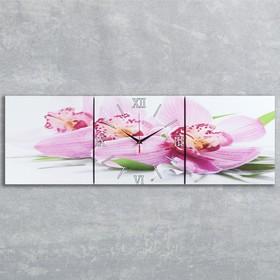 Часы настенные модульные «Сиреневые орхидеи», 35 × 110 см Ош