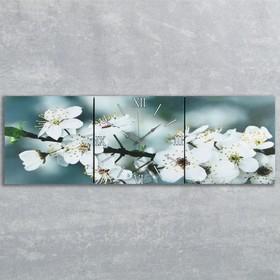 Часы настенные модульные «Весеннее цветение», 35 × 110 см Ош
