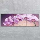 """Часы настенные, серия: Цветы, модульные """"Фиолетовые орхидеи"""", 35х110  см, микс"""