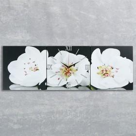 Часы настенные модульные «Белые орхидеи», 35 ×110 см Ош