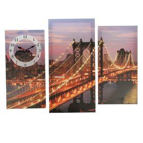 Часы настенные модульные «Светящийся мост ночью», 60 × 30 см и 50 × 25 см Ош