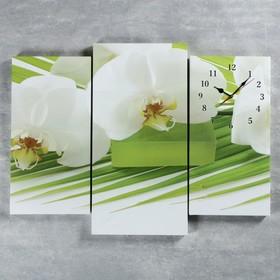 Часы настенные модульные «Белые цветы», 60 × 80 см Ош