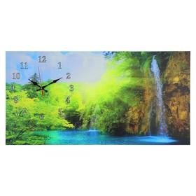 Часы настенные, серия: Природа, на холсте 'Лесной водопад', 40х76  см, микс Ош