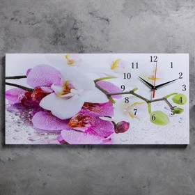Часы настенные, серия: Цветы, на холсте 'Орхидеи', 40х76  см, микс Ош