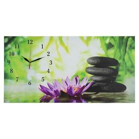 Часы настенные, серия: Цветы, на холсте 'Цветы и камни', 40х76  см, микс Ош