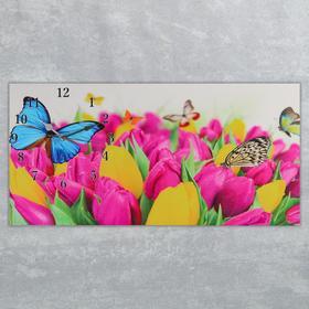 Часы настенные, серия: Цветы, на холсте 'Бабочки и тюльпаны', 40х76  см, микс Ош
