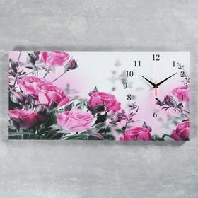 Часы настенные, серия: Цветы, на холсте 'Розовые розы', 40х76  см, микс Ош