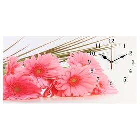 Часы настенные, серия: Цветы, на холсте 'Розовые герберы', 40х76  см, микс Ош